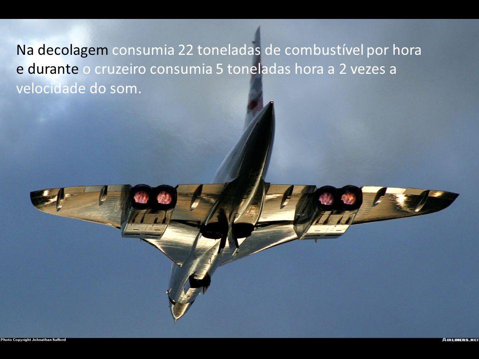 Na decolagem consumia 22 toneladas de combustível por hora