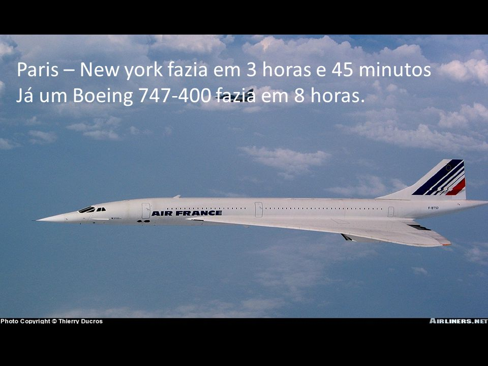 Paris – New york fazia em 3 horas e 45 minutos