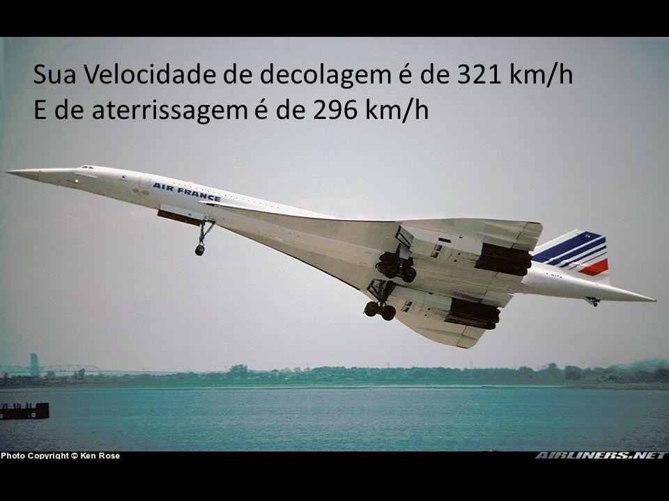 Sua Velocidade de decolagem é de 321 km/h