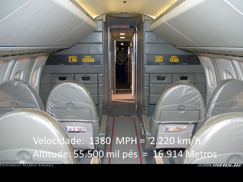 Velocidade: 1380 MPH = 2.220 km/h Altitude: 55.500 mil pés = 16.914 Metros