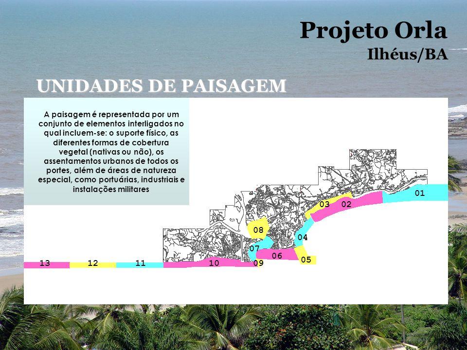 Projeto Orla UNIDADES DE PAISAGEM Ilhéus/BA 01 03 02 08 04 07 06 05 13