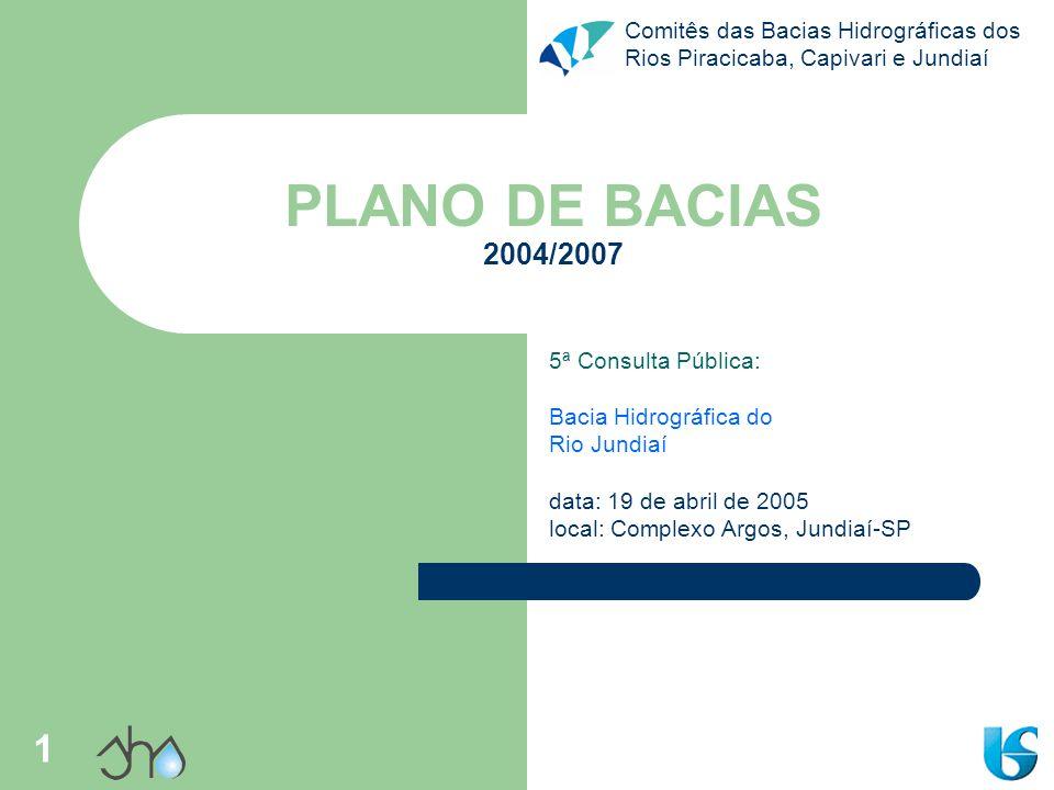 PLANO DE BACIAS 2004/2007 5ª Consulta Pública: Bacia Hidrográfica do