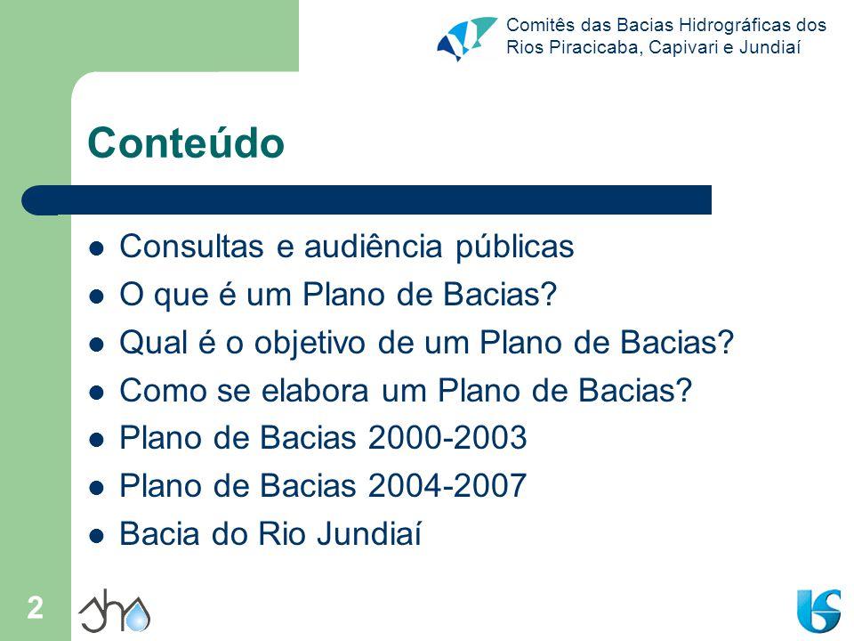 Conteúdo Consultas e audiência públicas O que é um Plano de Bacias