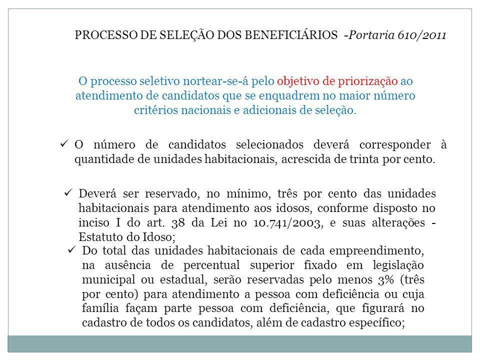 PROCESSO DE SELEÇÃO DOS BENEFICIÁRIOS -Portaria 610/2011