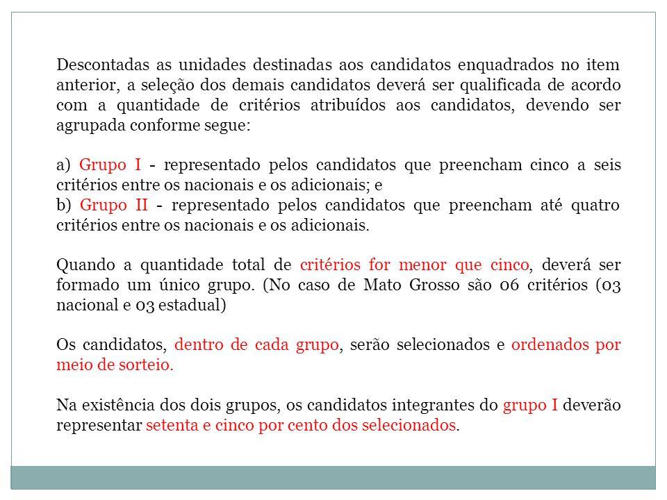 Descontadas as unidades destinadas aos candidatos enquadrados no item anterior, a seleção dos demais candidatos deverá ser qualificada de acordo com a quantidade de critérios atribuídos aos candidatos, devendo ser agrupada conforme segue: