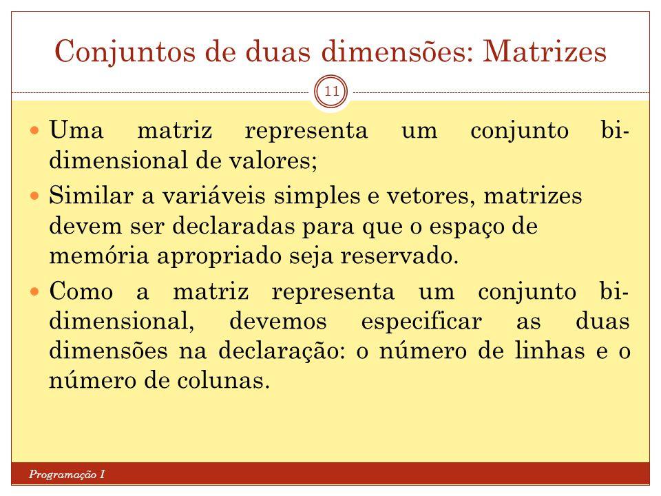 Conjuntos de duas dimensões: Matrizes
