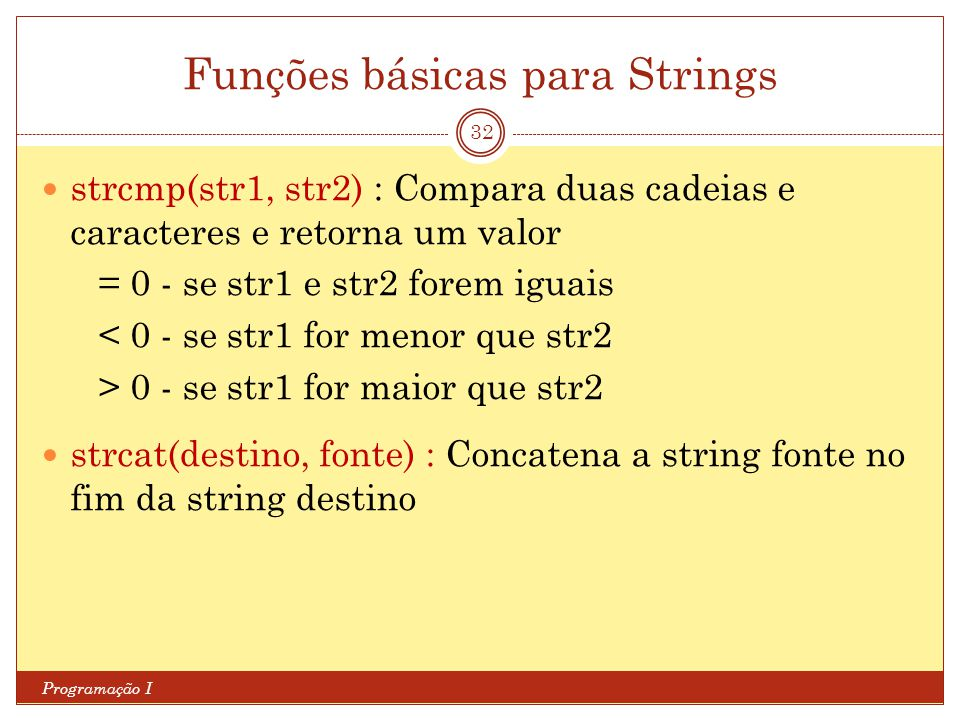 Funções básicas para Strings