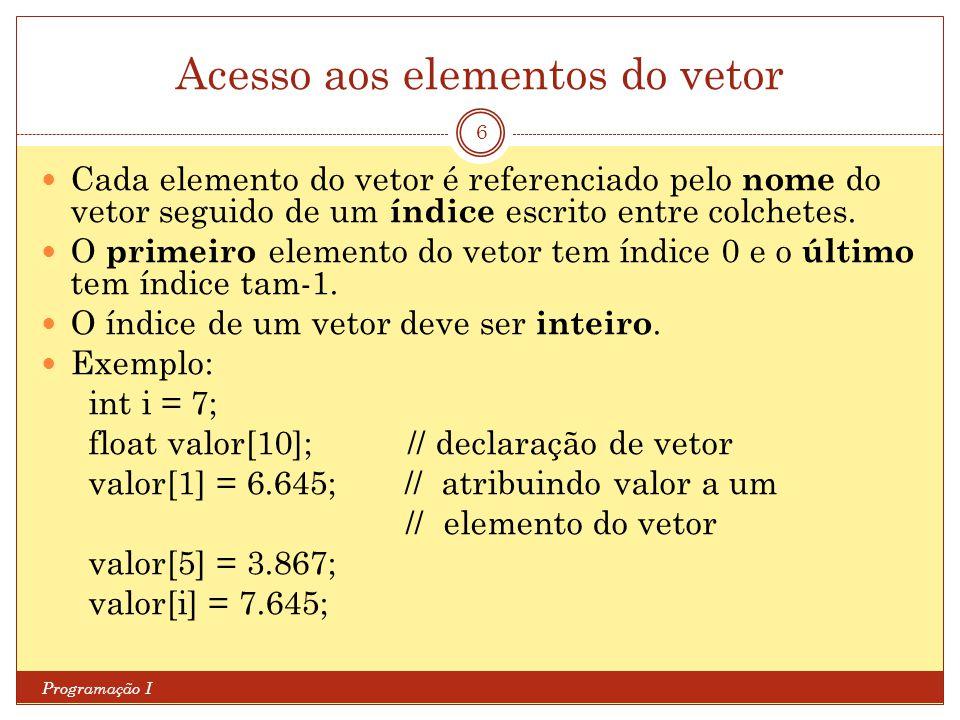 Acesso aos elementos do vetor