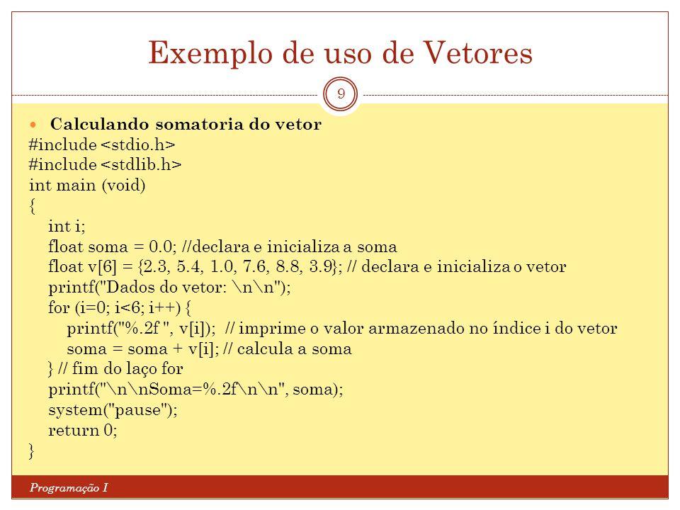 Exemplo de uso de Vetores