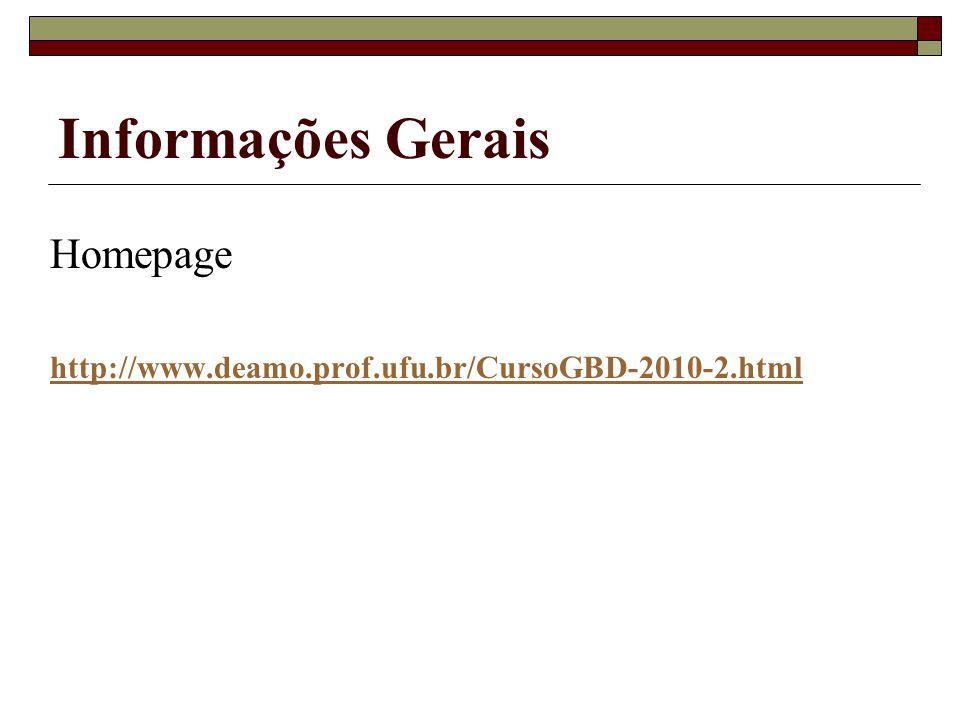 Informações Gerais Homepage