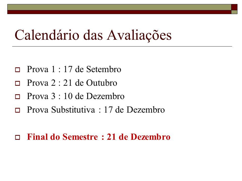 Calendário das Avaliações
