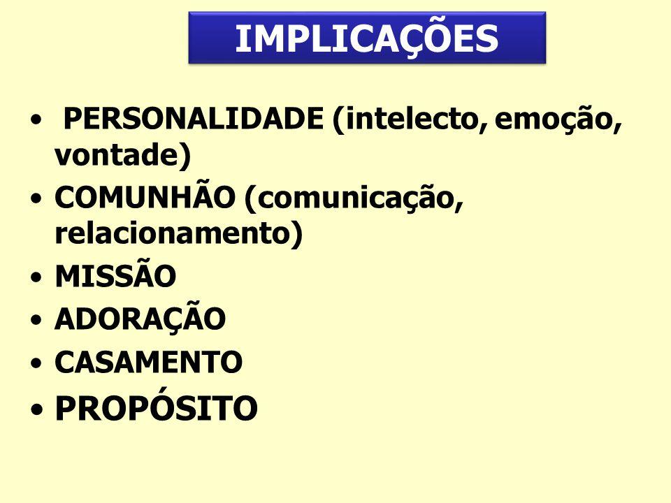 IMPLICAÇÕES PROPÓSITO PERSONALIDADE (intelecto, emoção, vontade)