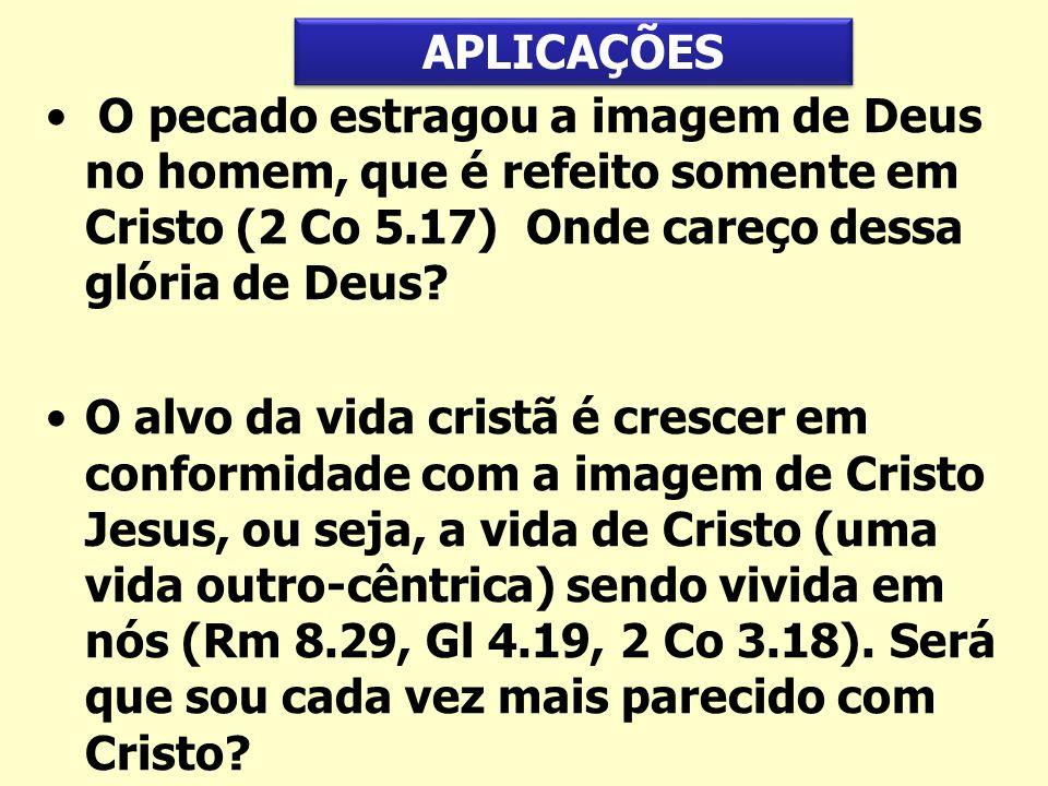 O pecado estragou a imagem de Deus no homem, que é refeito somente em Cristo (2 Co 5.17) Onde careço dessa glória de Deus