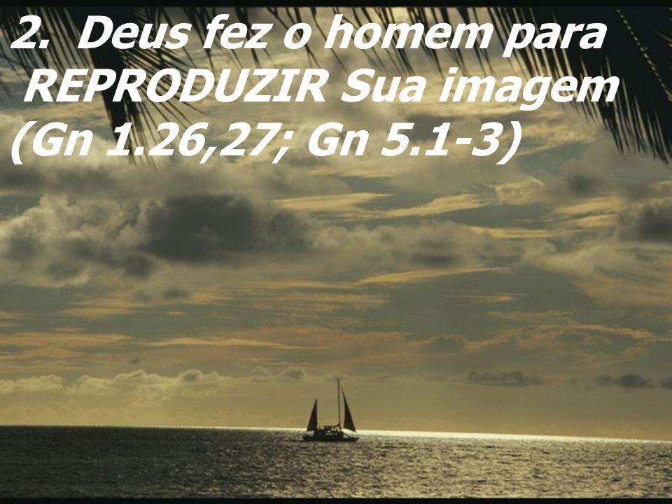 Deus fez o homem para REPRODUZIR Sua imagem (Gn 1.26,27; Gn 5.1-3)