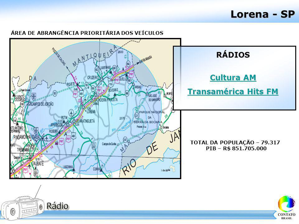 Lorena - SP RÁDIOS Cultura AM Transamérica Hits FM
