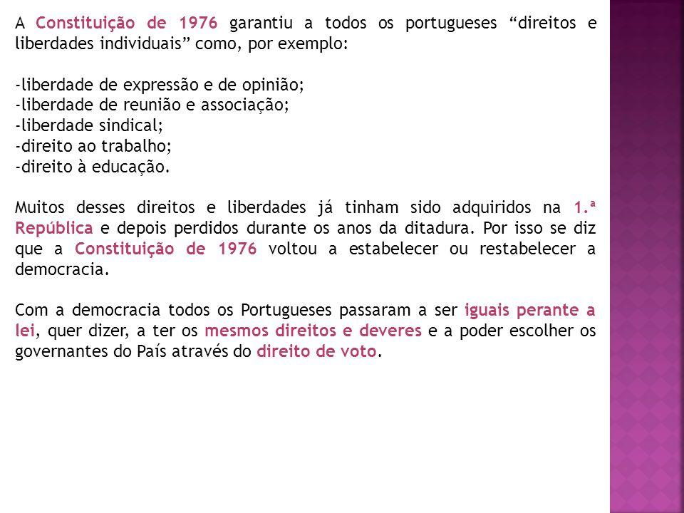 A Constituição de 1976 garantiu a todos os portugueses direitos e liberdades individuais como, por exemplo: