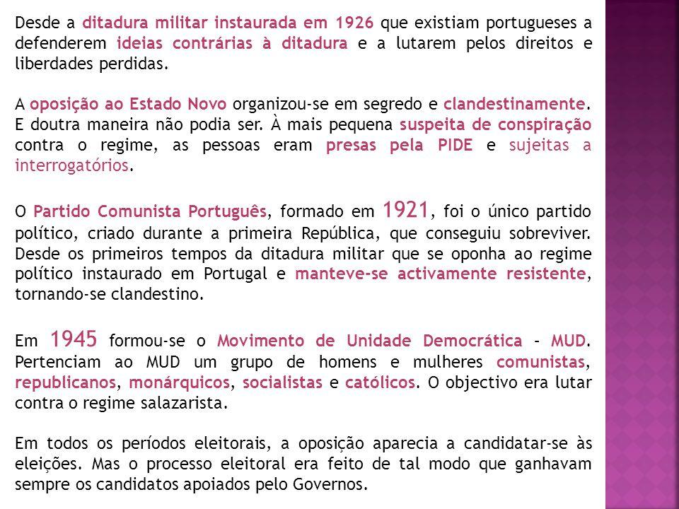 Desde a ditadura militar instaurada em 1926 que existiam portugueses a defenderem ideias contrárias à ditadura e a lutarem pelos direitos e liberdades perdidas.