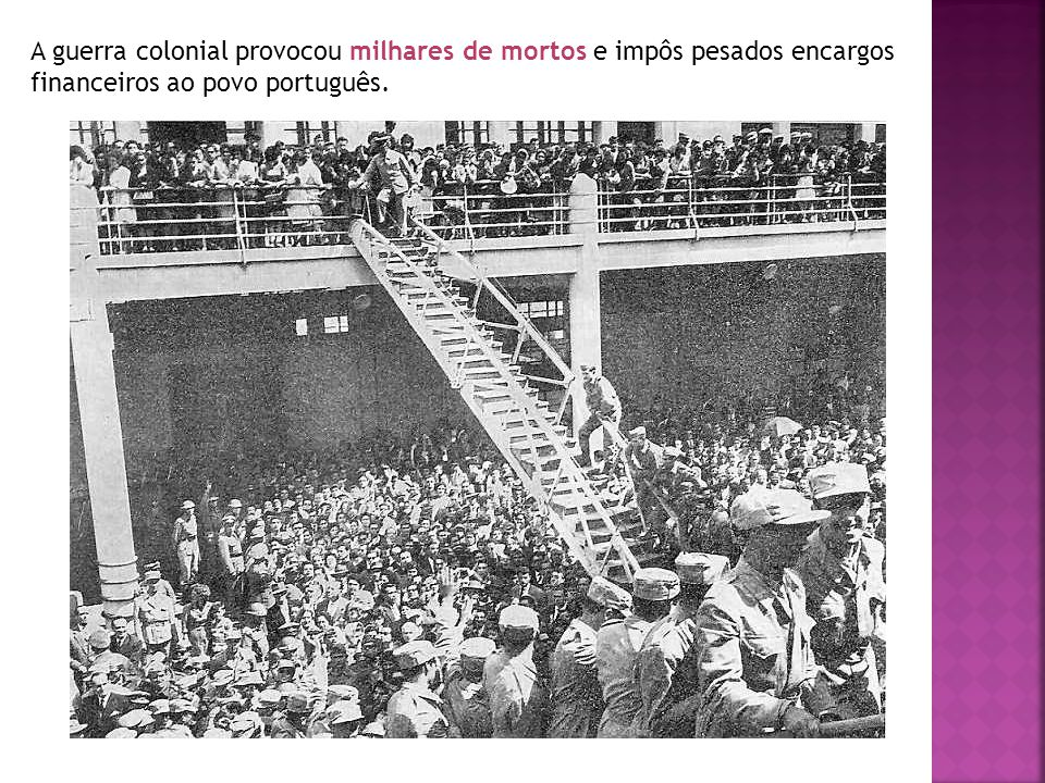 A guerra colonial provocou milhares de mortos e impôs pesados encargos financeiros ao povo português.