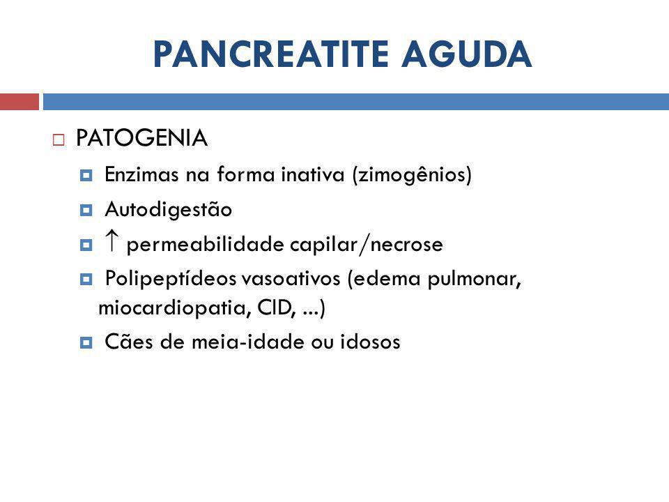 PANCREATITE AGUDA PATOGENIA Enzimas na forma inativa (zimogênios)
