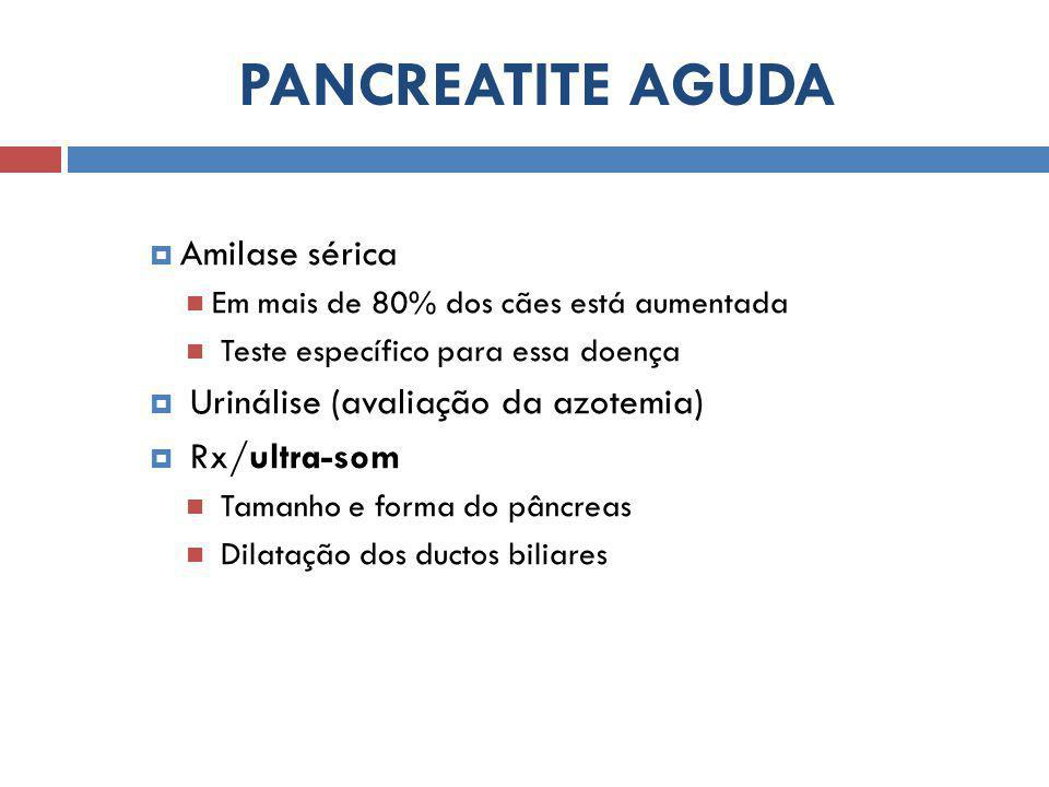 PANCREATITE AGUDA Amilase sérica Urinálise (avaliação da azotemia)