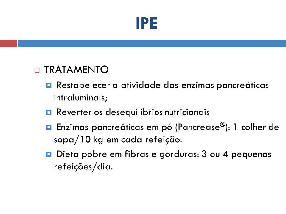 IPE TRATAMENTO. Restabelecer a atividade das enzimas pancreáticas intraluminais; Reverter os desequilíbrios nutricionais.