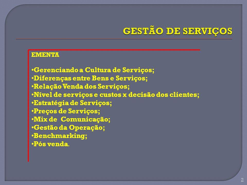 GESTÃO DE SERVIÇOS Gerenciando a Cultura de Serviços;