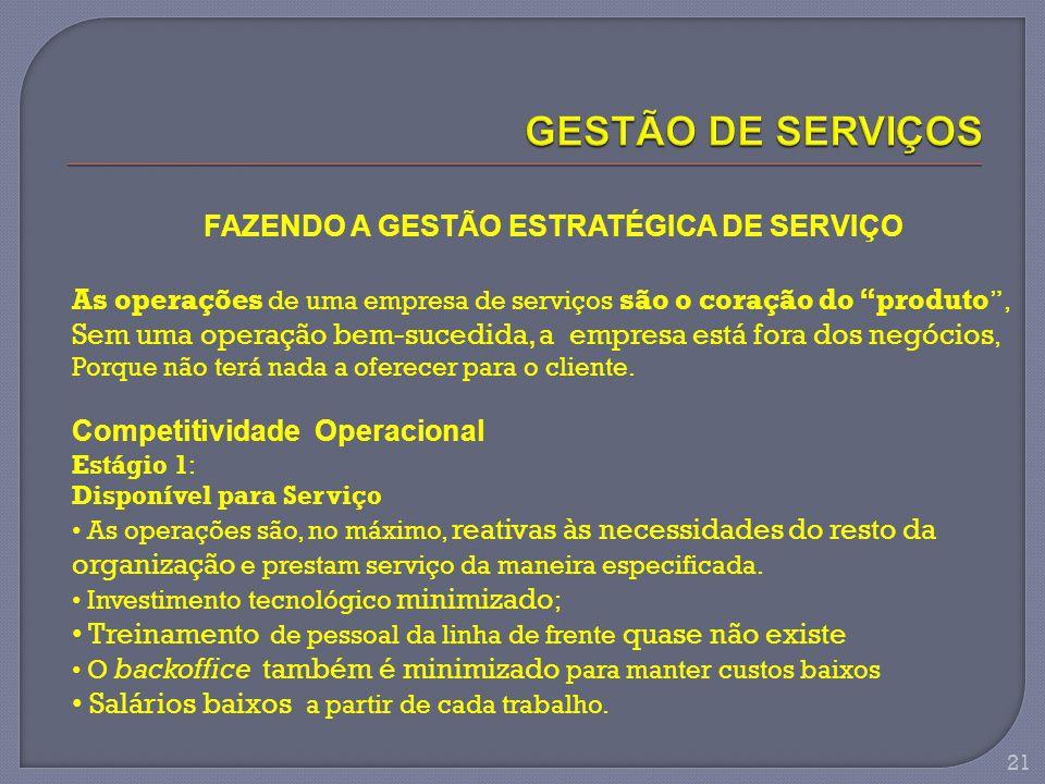 GESTÃO DE SERVIÇOS FAZENDO A GESTÃO ESTRATÉGICA DE SERVIÇO