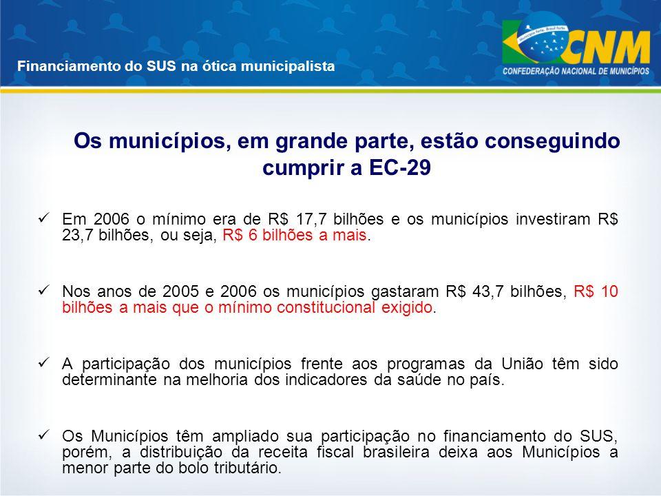 Os municípios, em grande parte, estão conseguindo cumprir a EC-29