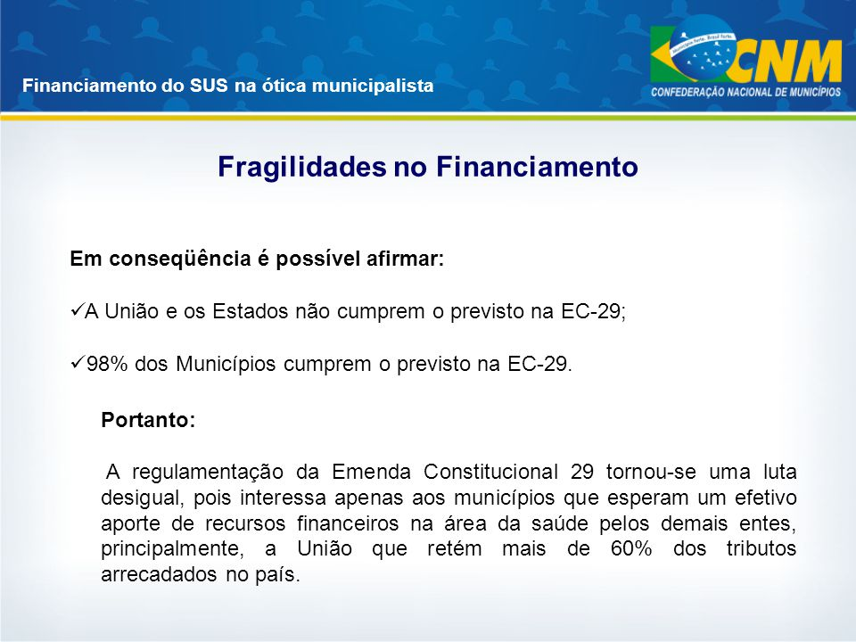 Fragilidades no Financiamento