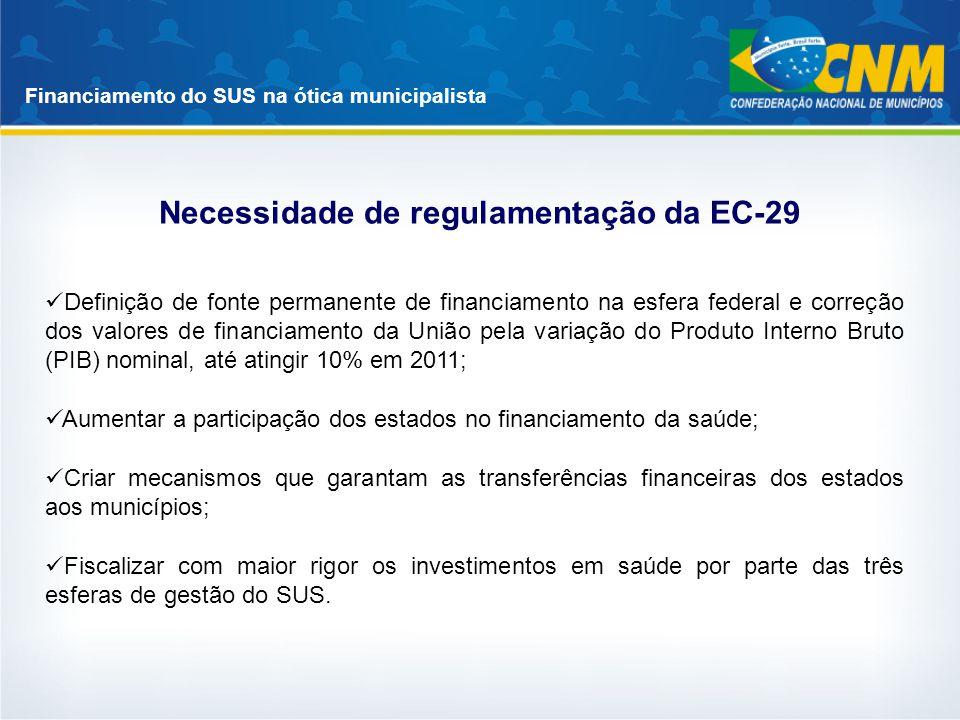 Necessidade de regulamentação da EC-29