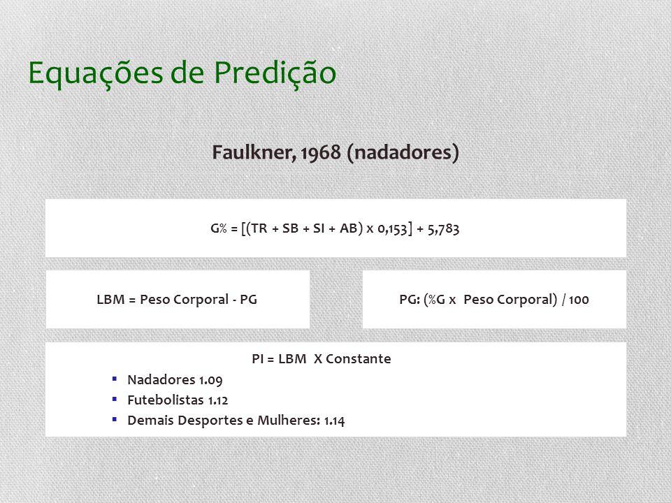 Equações de Predição Faulkner, 1968 (nadadores)