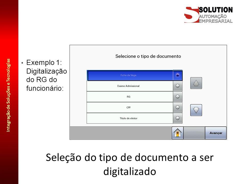 Seleção do tipo de documento a ser digitalizado