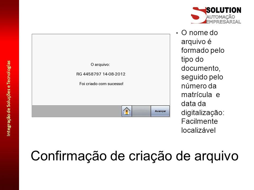Confirmação de criação de arquivo