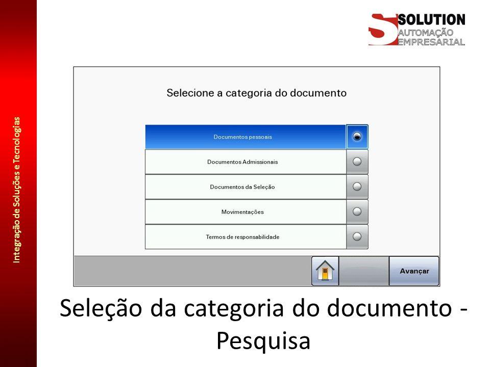 Seleção da categoria do documento - Pesquisa