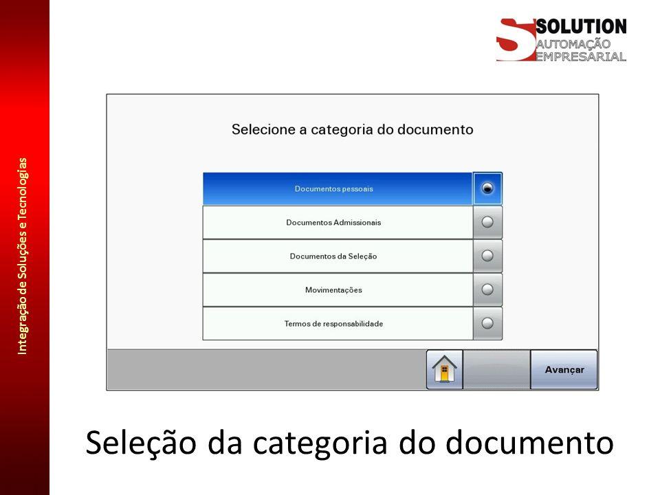 Seleção da categoria do documento