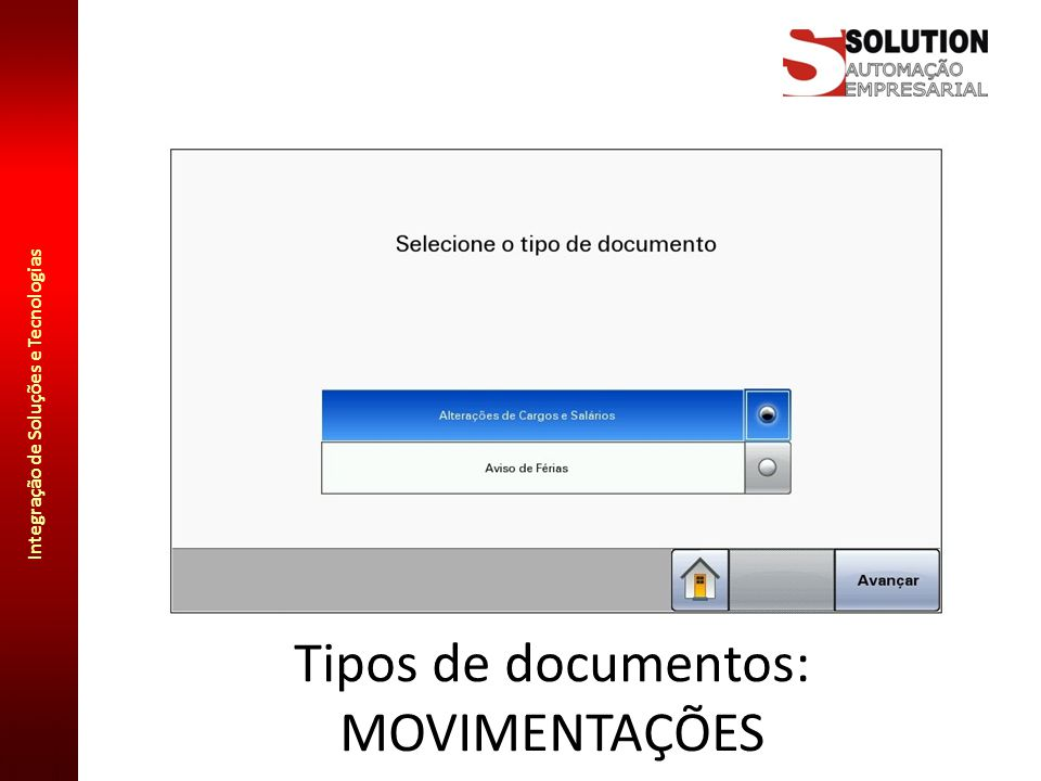 Tipos de documentos: MOVIMENTAÇÕES