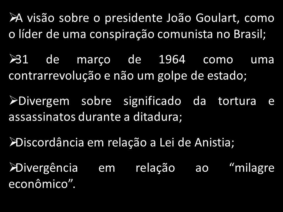 A visão sobre o presidente João Goulart, como o líder de uma conspiração comunista no Brasil;