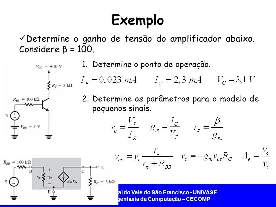Exemplo Determine o ganho de tensão do amplificador abaixo. Considere β = 100. Determine o ponto de operação.