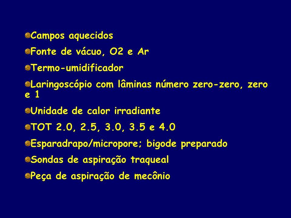 Campos aquecidos Fonte de vácuo, O2 e Ar. Termo-umidificador. Laringoscópio com lâminas número zero-zero, zero e 1.