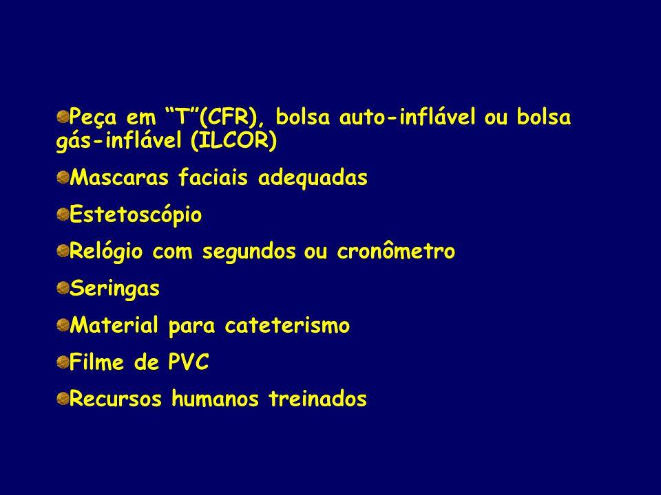 Peça em T (CFR), bolsa auto-inflável ou bolsa gás-inflável (ILCOR)