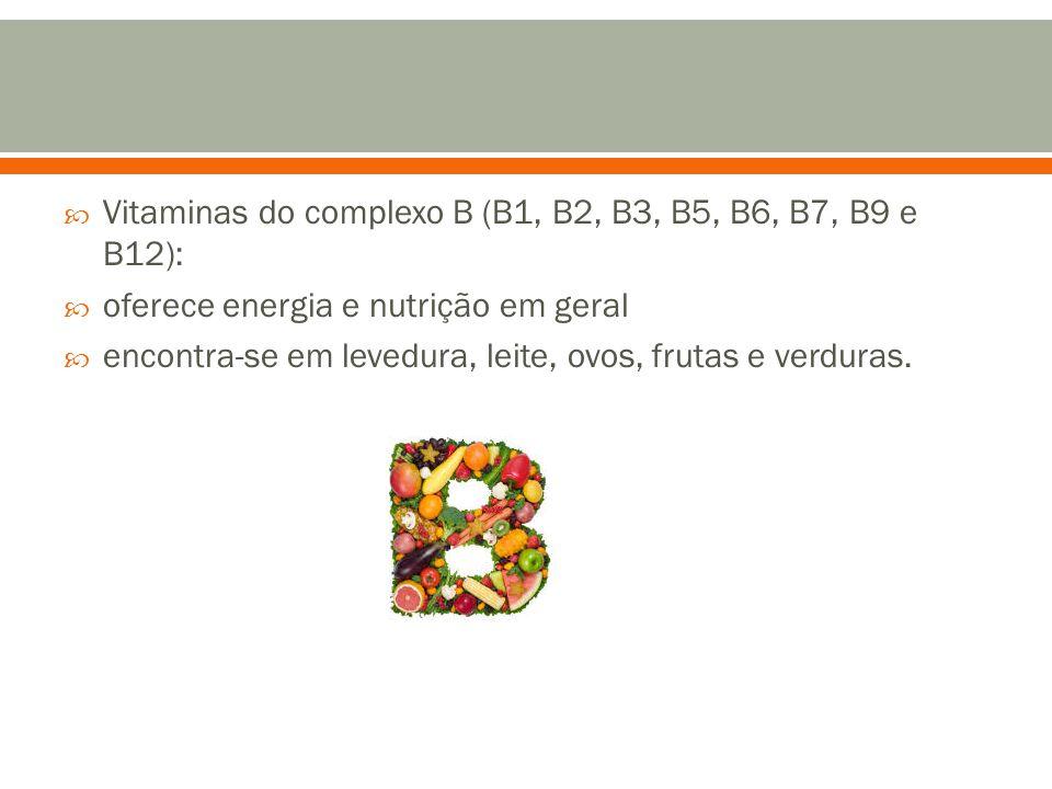 Vitaminas do complexo B (B1, B2, B3, B5, B6, B7, B9 e B12):