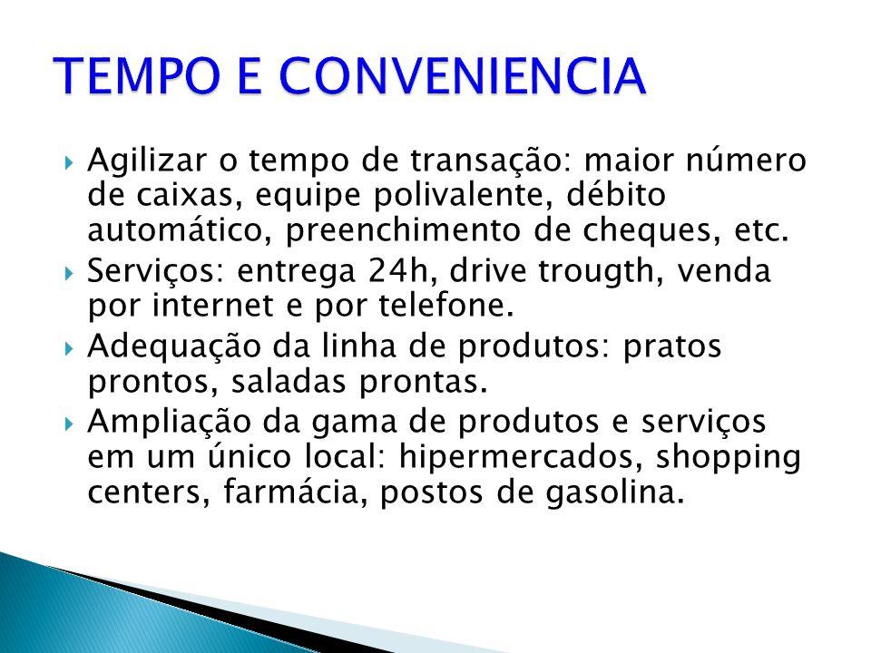 TEMPO E CONVENIENCIA Agilizar o tempo de transação: maior número de caixas, equipe polivalente, débito automático, preenchimento de cheques, etc.