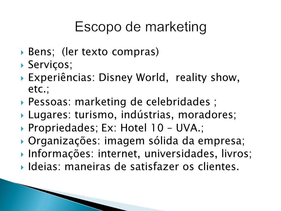 Escopo de marketing Bens; (ler texto compras) Serviços;