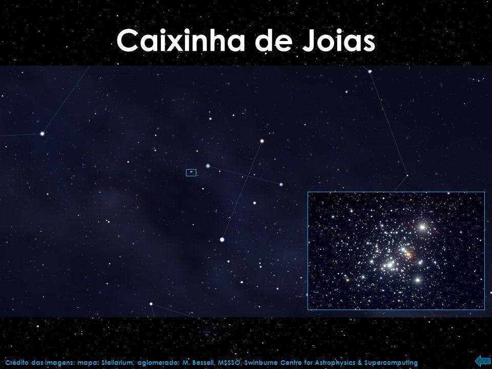 Caixinha de Joias Crédito das imagens: mapa: Stellarium, aglomerado: M.