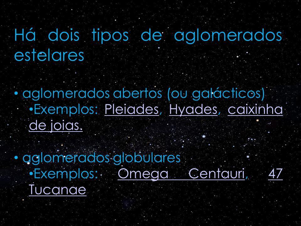 Há dois tipos de aglomerados estelares