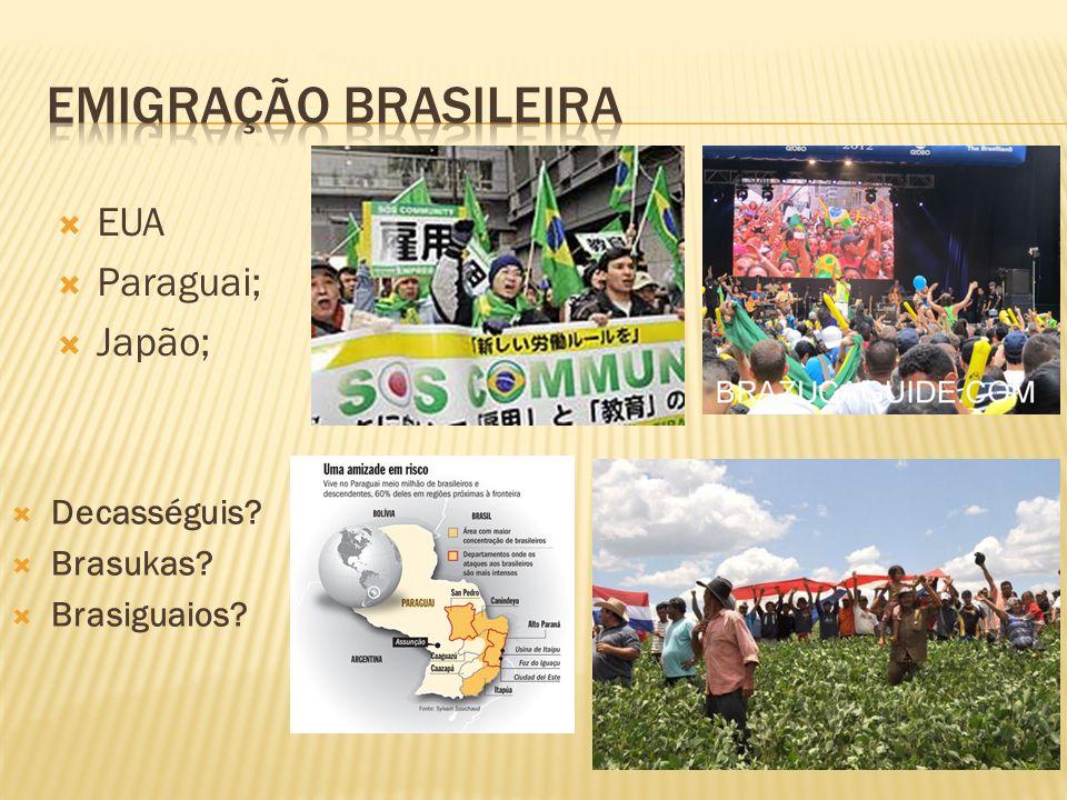 Emigração brasileira EUA Paraguai; Japão; Decasséguis Brasukas