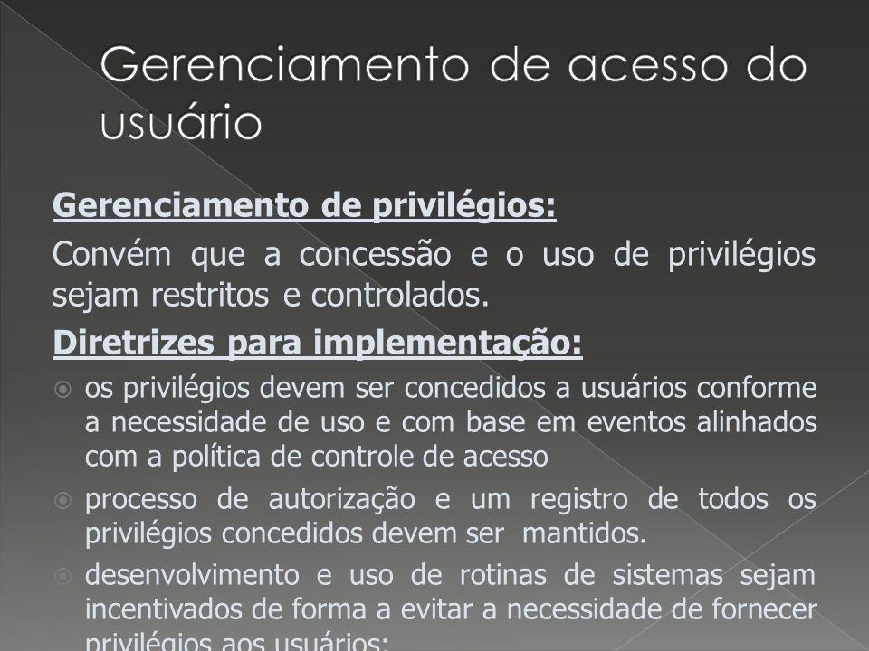 Gerenciamento de acesso do usuário