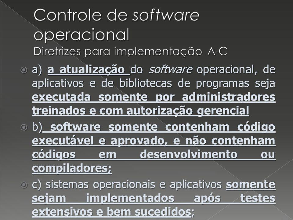 Controle de software operacional Diretrizes para implementação A-C