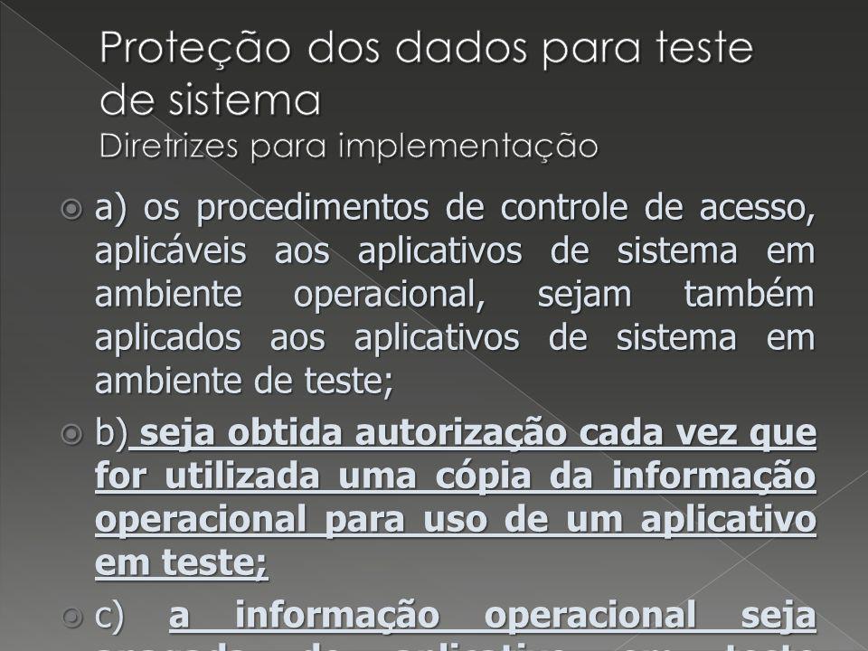 Proteção dos dados para teste de sistema Diretrizes para implementação
