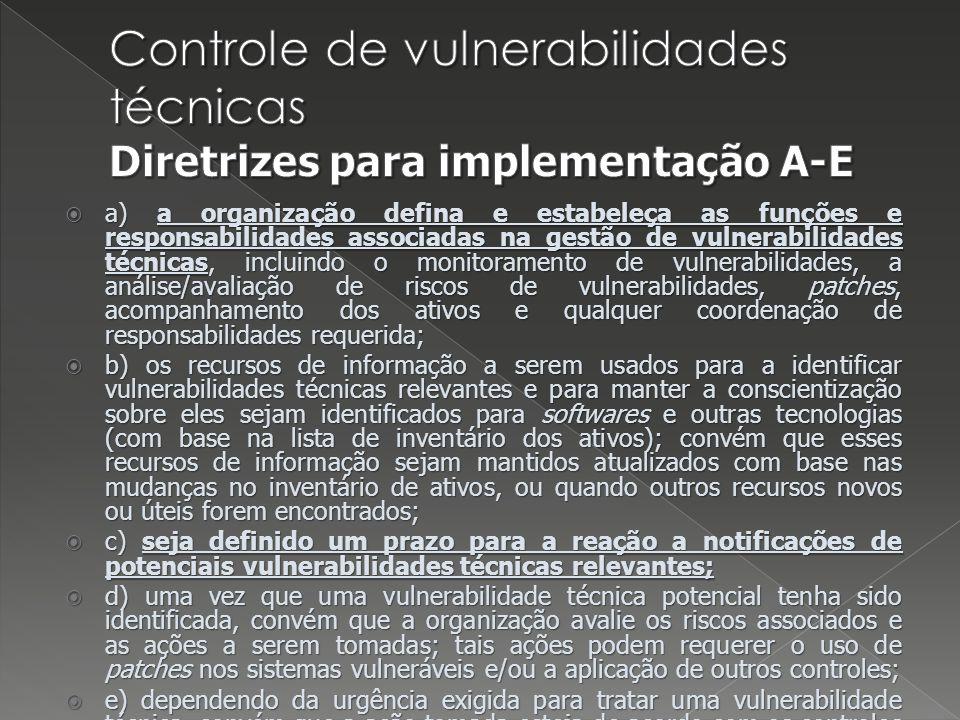 Controle de vulnerabilidades técnicas Diretrizes para implementação A-E